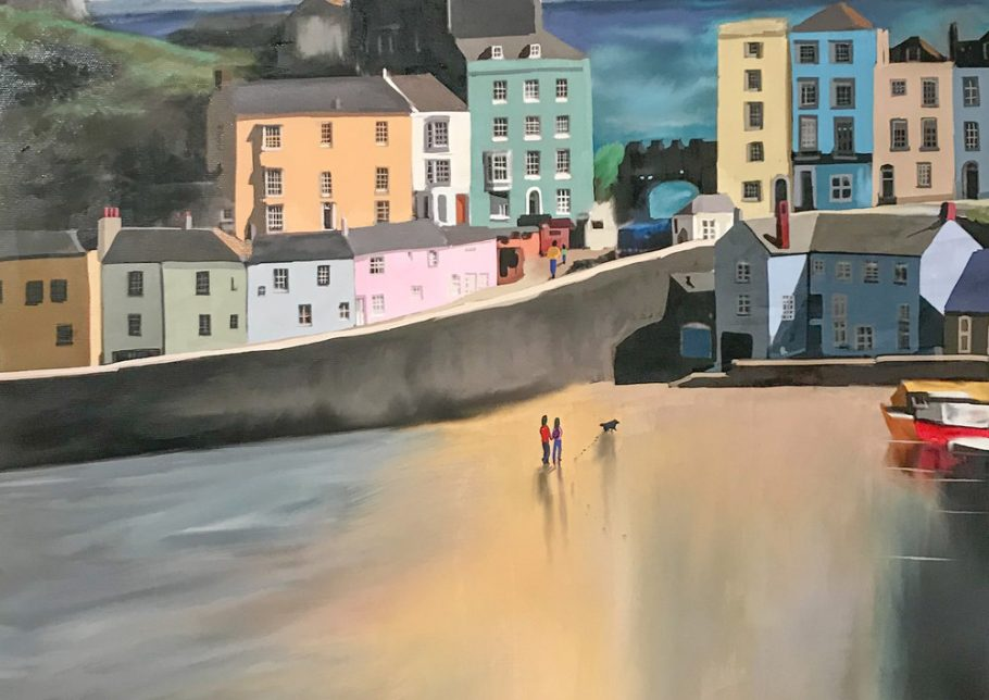 Title+Colured+Houses+of+Tenby++Media+Master+Canvas+Print+hand+finished+with+acrylic+and+varnishes.+Sise+16x23+Price+£275